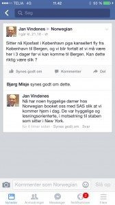 Norwegian har til takeoff.dk fremsendt dette opslag fra Facebook, der skal vise, at Norwegian ombooker til andre flyselskaber, i dette tilfælde SAS.