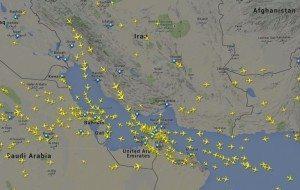 Illustration fra flightradar.com af luftrummet over Gulf-staterne.