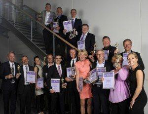Vinderne ved Danish travel Award 2014 i Billund Lufthavn onsdag aften. Foto: Jonas Fotografi