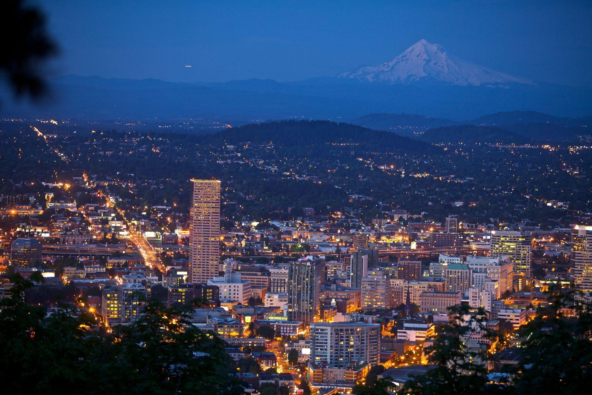 Et kig ud over Portland i delstaten Oregon.