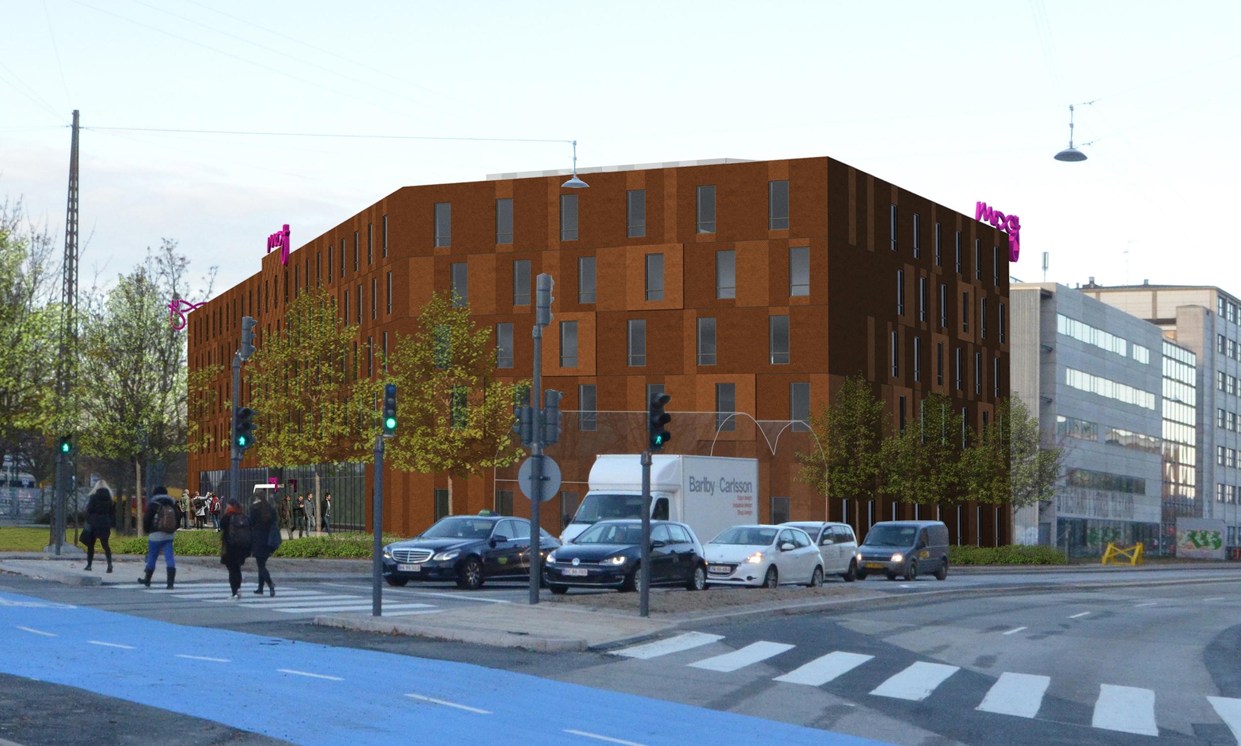 Sådan kommer Københavns kommende Moxy Hotel til at se ud, når det, stærkt forsinket, åbner næste forår.