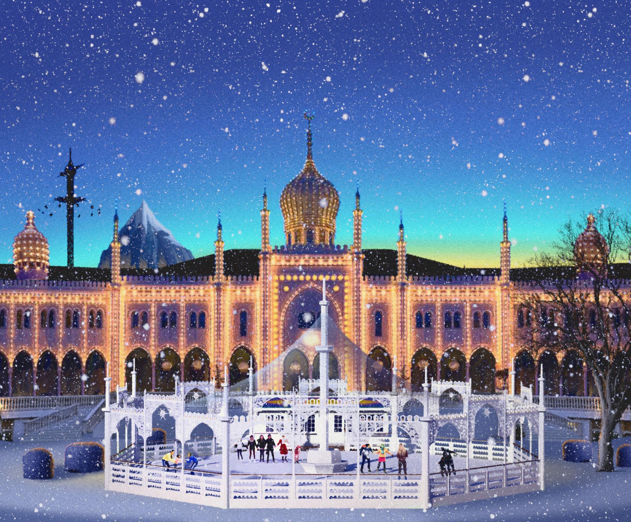 Flere attraktioner i Danmark, som her Tivoli i København, holder vinteråbent. Foto: Tivoli.