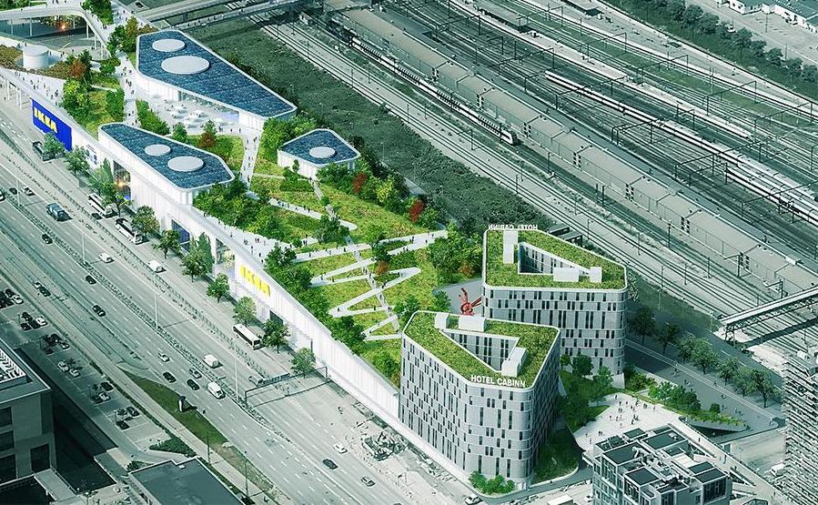 CabInn er i gang med at opføre Danmarks største hotel, nederst til højre, med 1.200 værelser ved Kalvebod Brygge i København.