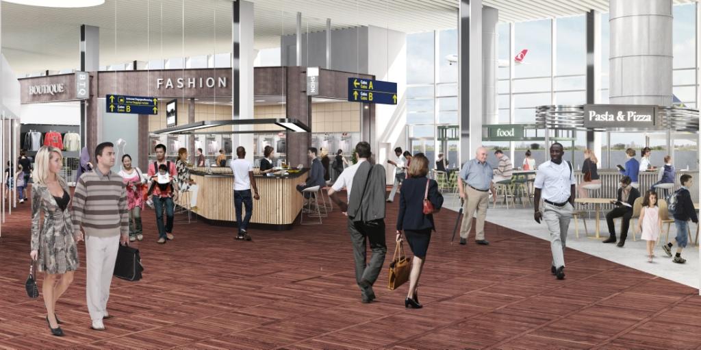 Tegning af det kommende nye restaurantområde i Københavns Lufthavns Terminal 2.