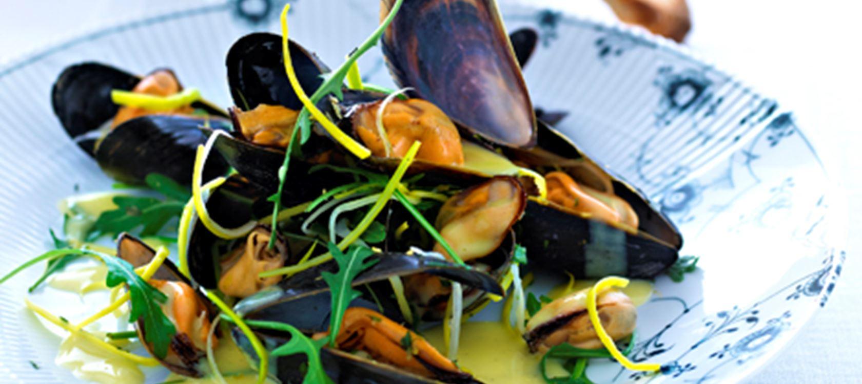 Stillestående, farveløse muslinger. Foto: Karolines Køkken.