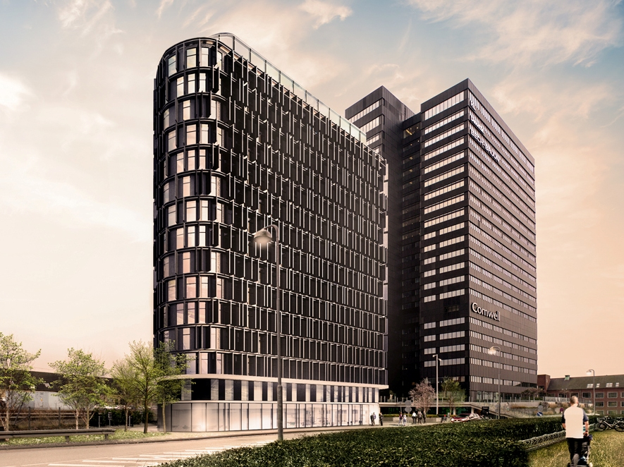 Arkitekttegning af det nye hotelbyggeri ved Comwell Aarhus, i forgrunden, med det eksisterende i baggrunden.
