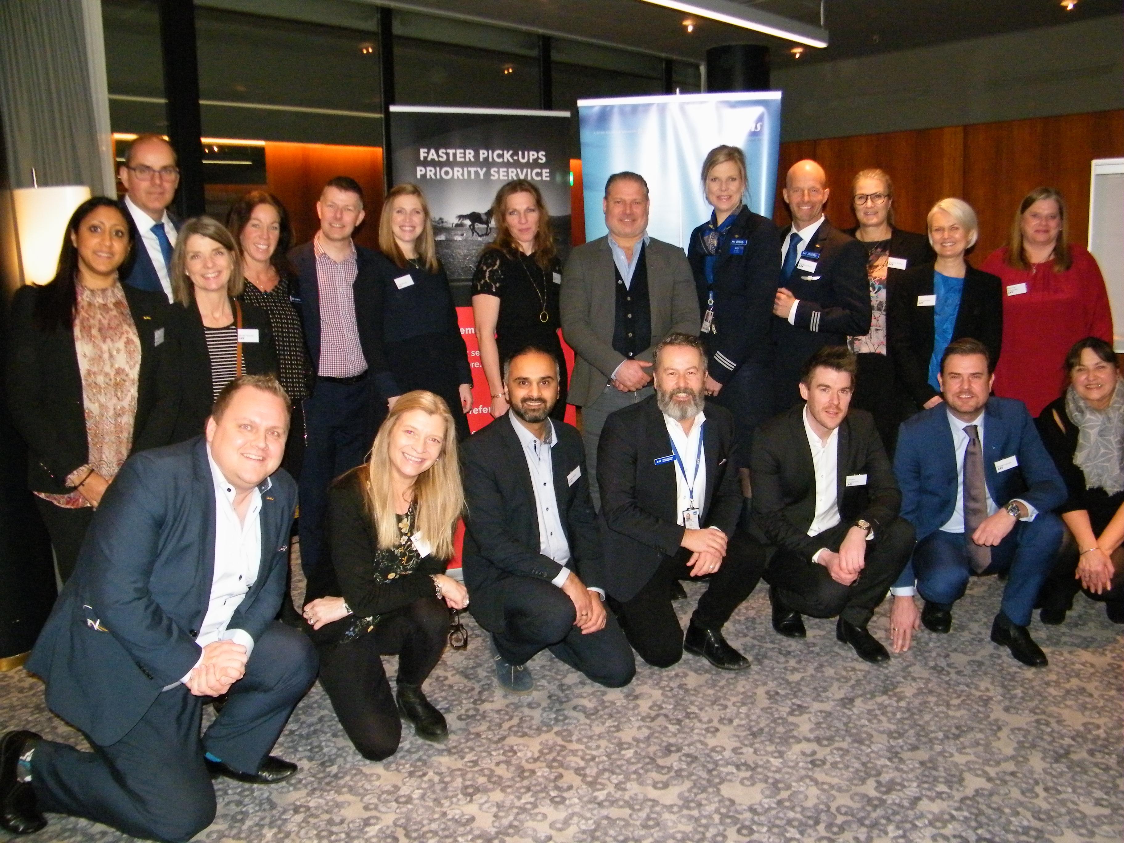 Hovedparten af deltagerne fra SAS, Radisson SAS og Avis Biludlejning ved speeddating-arrangementet i går.