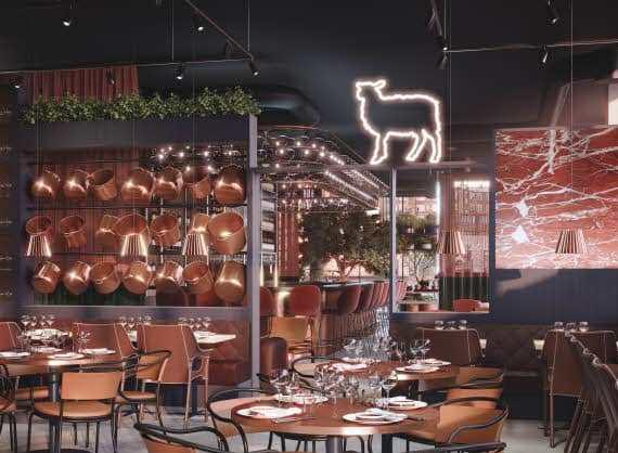 Sådan kommer den store restaurant i Scandic Kødbyen i København til at se ud.
