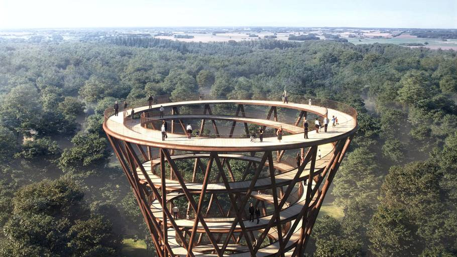 Toppen af spiraltårnet, der bygges i træ, ligger 45 meter over jorden. Foto: Effekt Tegnestue.