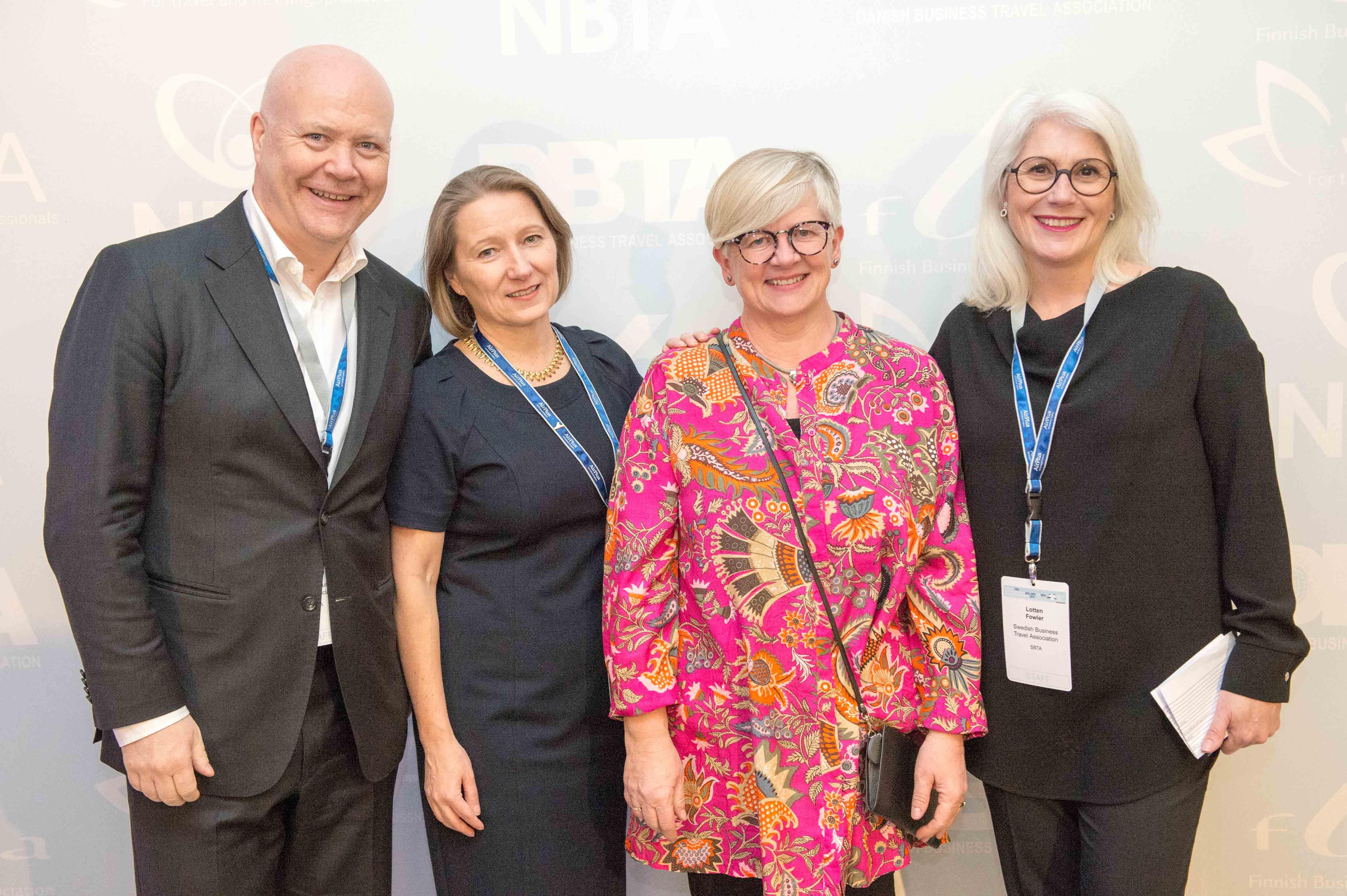 Arrangørerne fra de fire nordiske foreninger af Nordic Business Travel Summit, fra venstre norske Jan Henrik Ulvatne, finske Sari Viljama, Anne Mette Berg fra danske DBTA og svenske Lotten Fowler.
