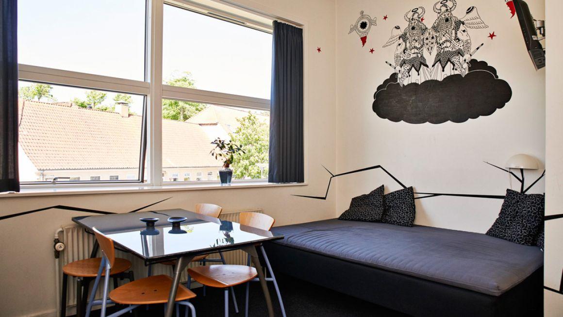 Sovesale er fortid. I dag byder vandrerhjemmene på værelser med eget bad som her i Roskilde. Foto: Danhostel.