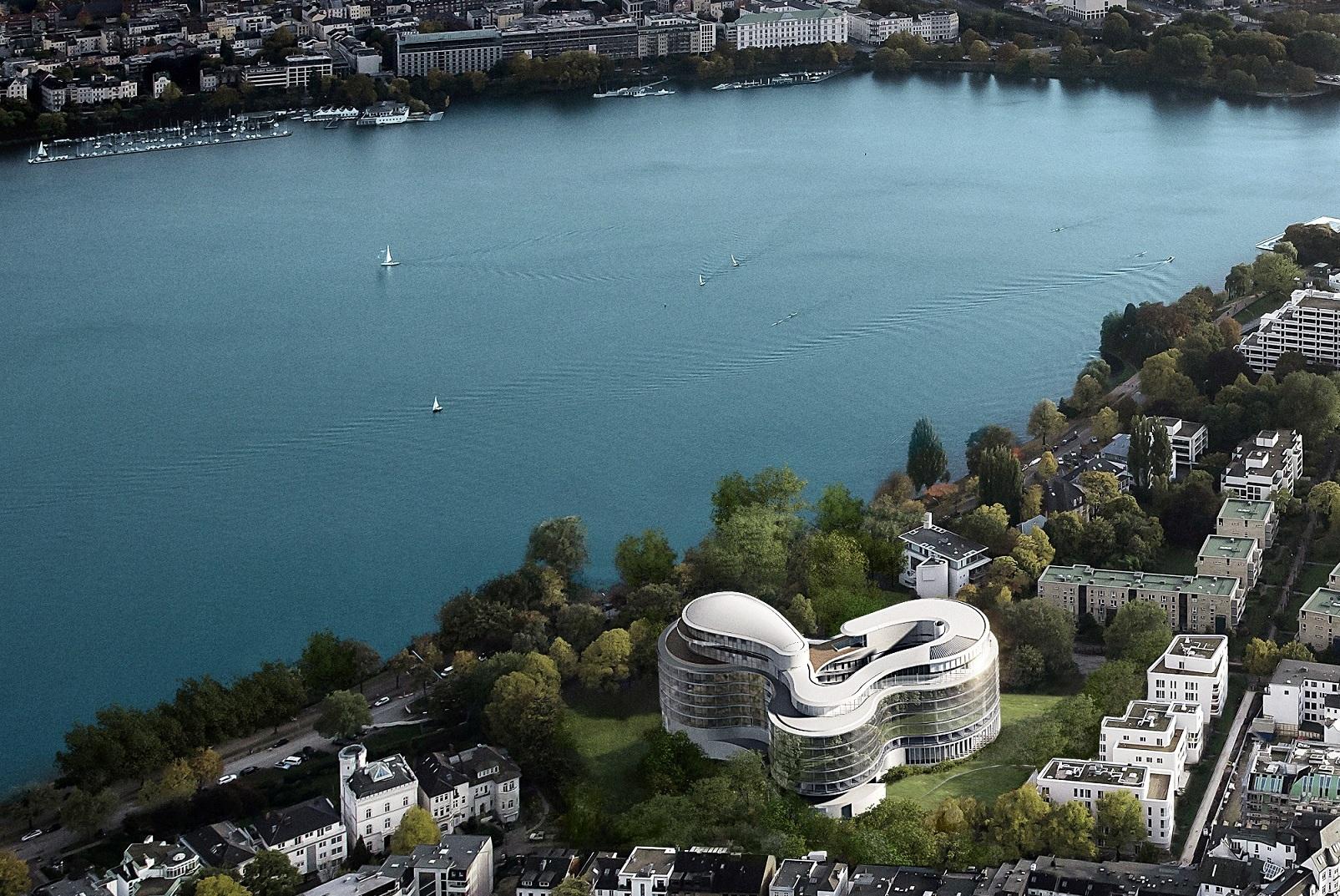 The Fontenay, Hamborgs nyeste 5-stjernede hotel, i forgrunden, med søen Alster bagved.