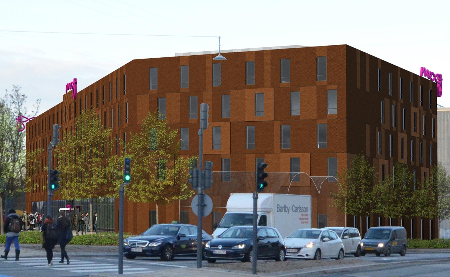 København får til marts næste år sit tredje medlem af Marriott-kæden, denne gang et Moxy-hotel med 228 værelser. Illustration: Moxy Hotels.