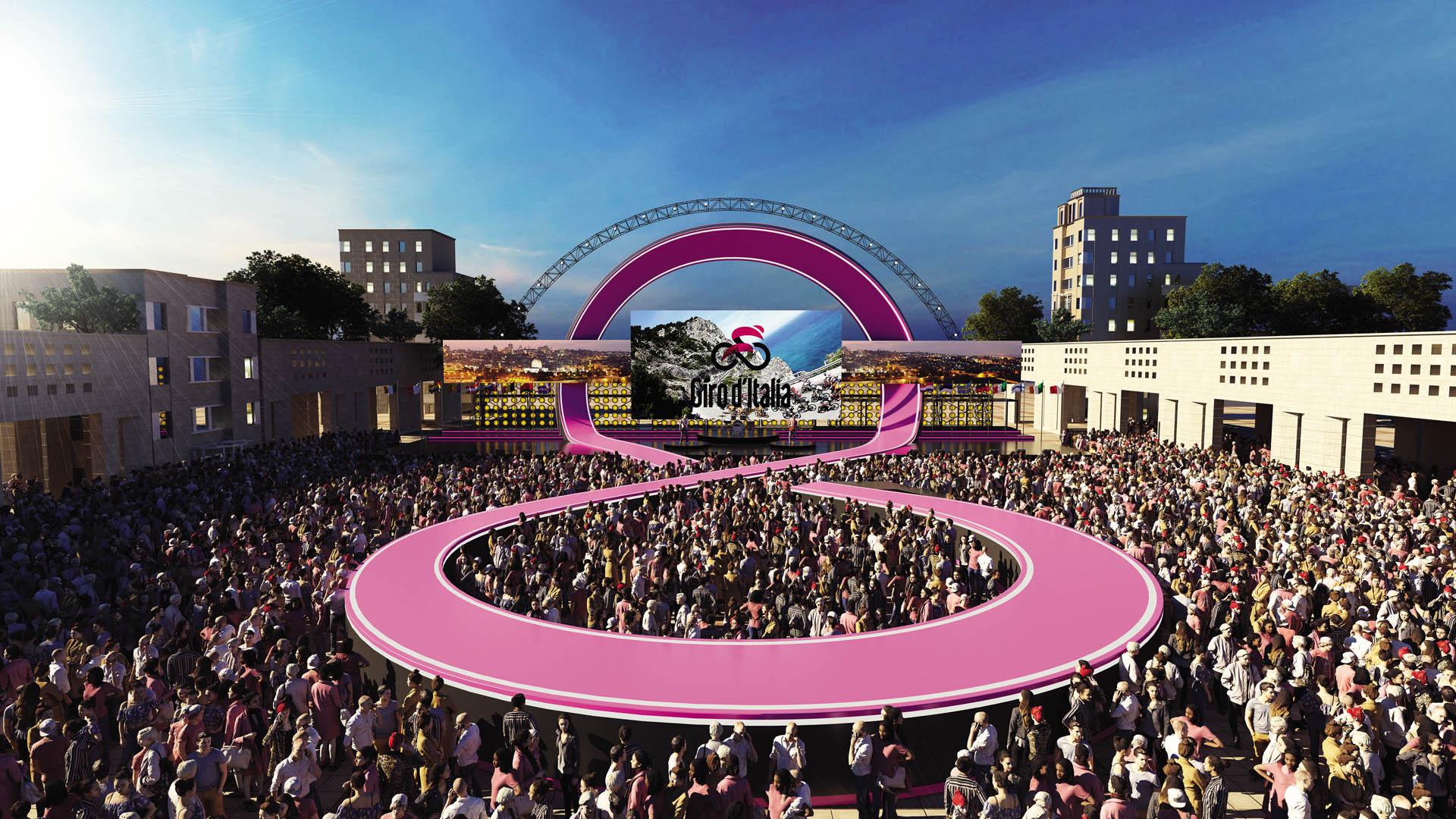 Den officielle præsentation af holdene ved årets Giro d'Italia sker på Safra Square i Jerusalem. Prologen i Israel køres denne weekend, fredag, lørdag og søndag. Foto:  giro-bigstartisrael.com