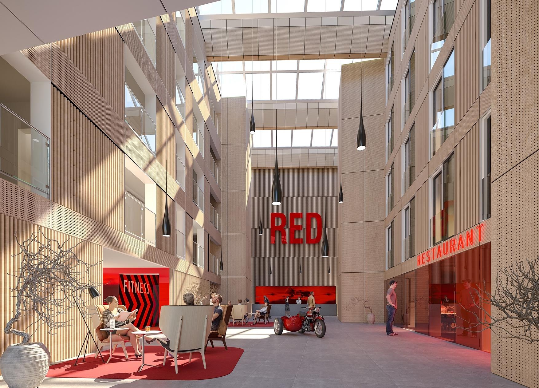 Nogenlunde dette syn venter gæster, der fra efteråret 2019 træder ind på Nordens første Radisson Red, der placeres i Aarhus med 78 værelser. Illustration: Luplau & Poulsen / Dimension Design.