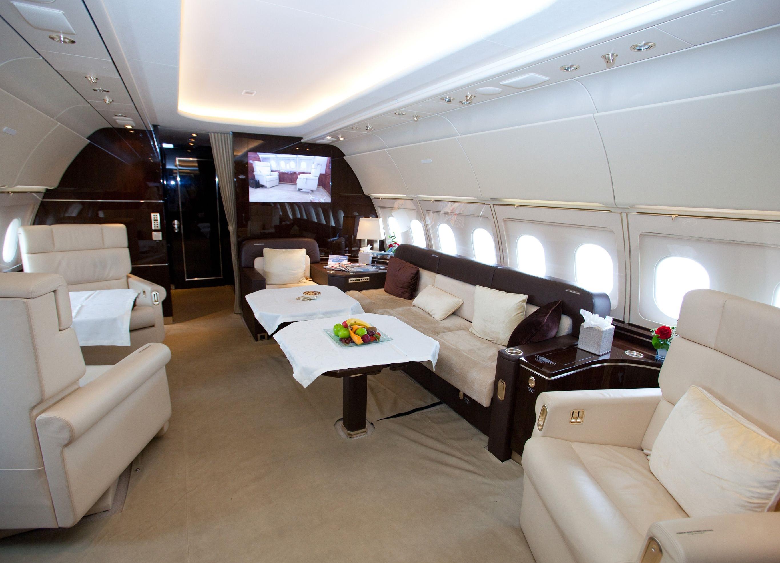 Kunderne til Airbus' business jets kan få kabineindretningen næsten som de ønsker – her er et forslag fra Airbus til en A320. Foto: Airbus.
