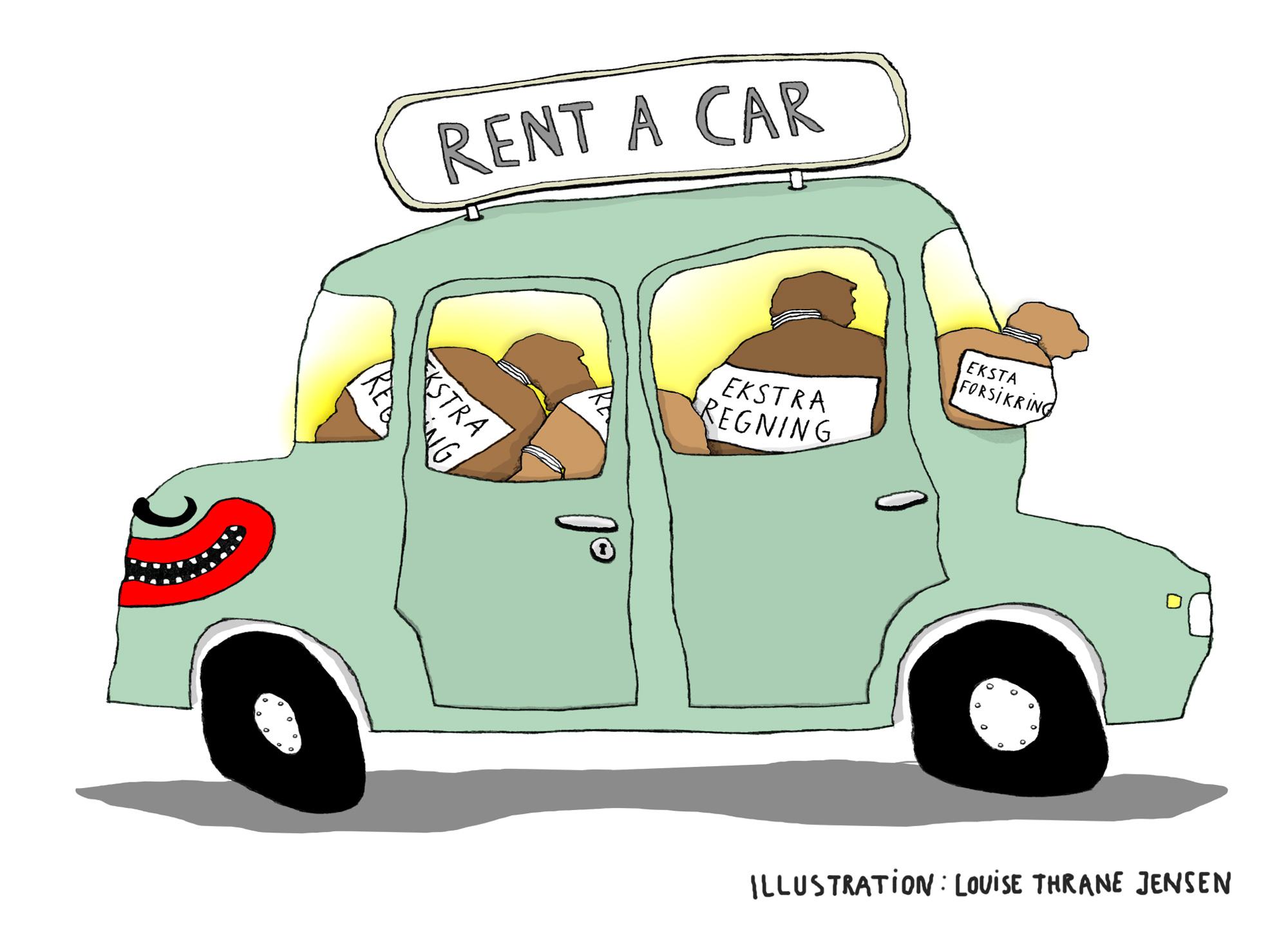 """Der er grund til at passe godt på ved biludlejning, navnlig når der lejes fra """"ukendte"""" biludlejningsselskaber. Illustration via Forbrug.dk: Louise Thrane Jensen"""