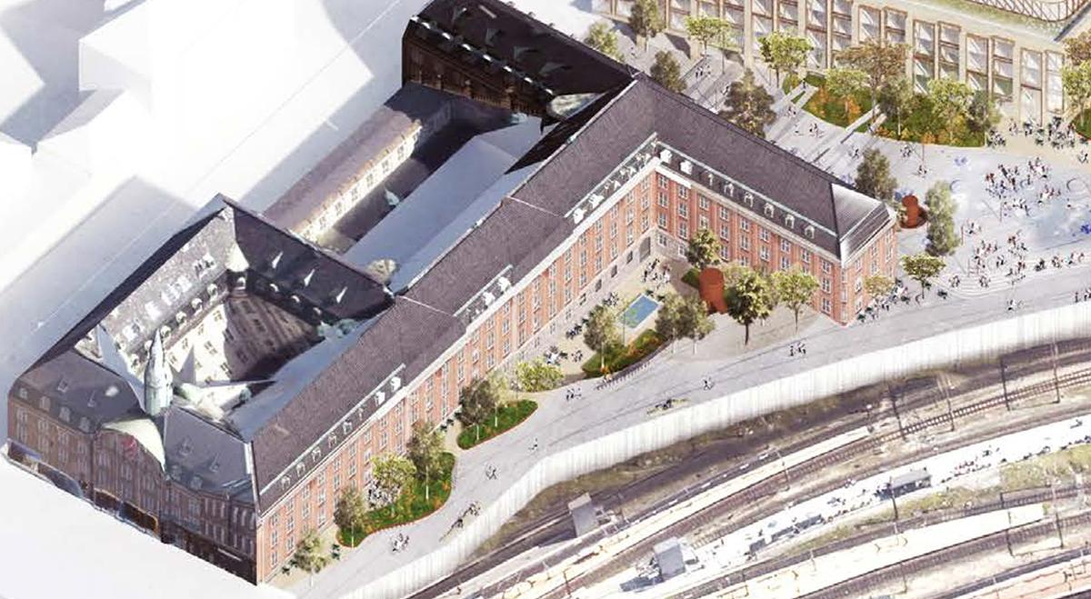Det kommende hotel ved Centralpostbygningen i København åbner i 2020 med 390 værelser og suiter. Området nederst til venstre ligger tættest på Hovedbanegården. Illustration: Nordic Choice Hotels.