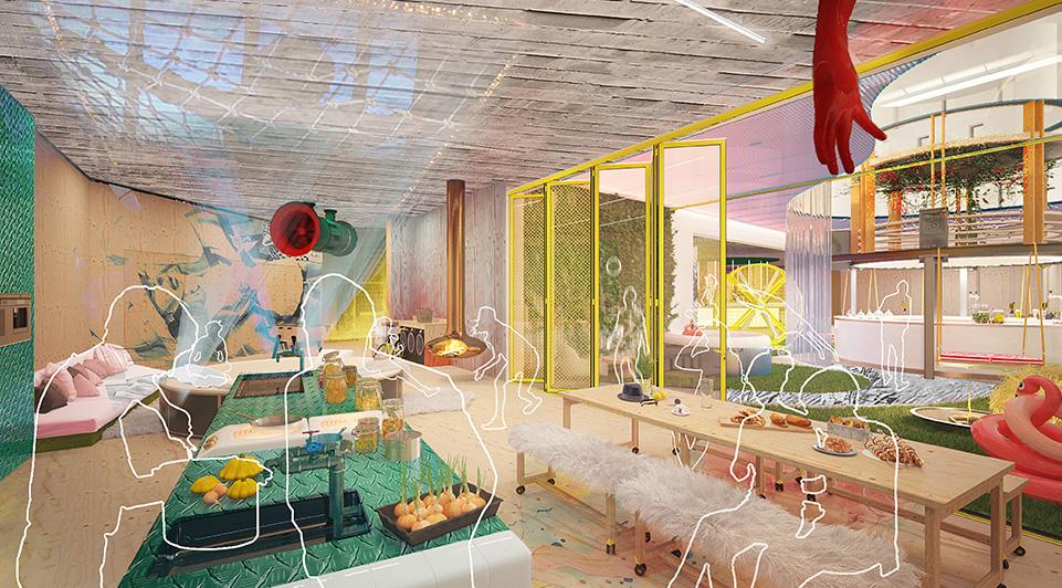 """Hotelkæden AccorHotels' nyeste brand Jo&Joe er """"et open-house koncept der kombinerer det bedste inden for privat udlejning, vandrehjem og hotelovernatningsmuligheder."""" Illustration: Accor Hotels Jo & Joe Brand."""