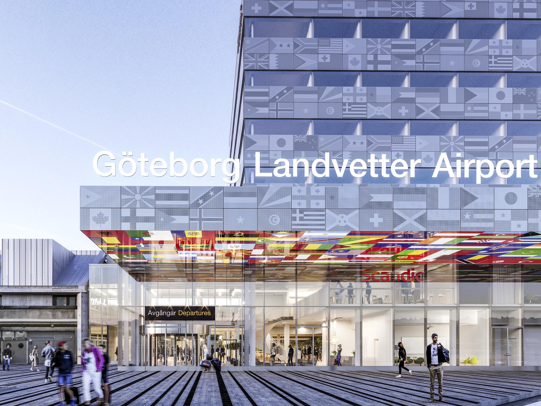 Terminalen ved lufthavnen i Gøteborg, hvor det nye hotel åbner. Illustration: Wingårdhs Arkitekter.