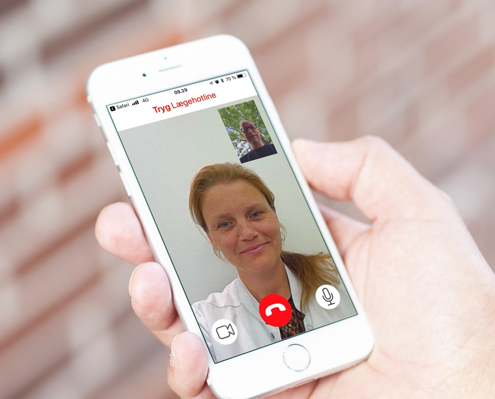"""Via app'en """"Tryg Lægehotline"""" kan fordelskunder hos Tryg Forsikring på ferie i udlandet nu komme i kontakt med en dansktalende læge hjemme i Danmark. Foto: Tryg Forsikring."""