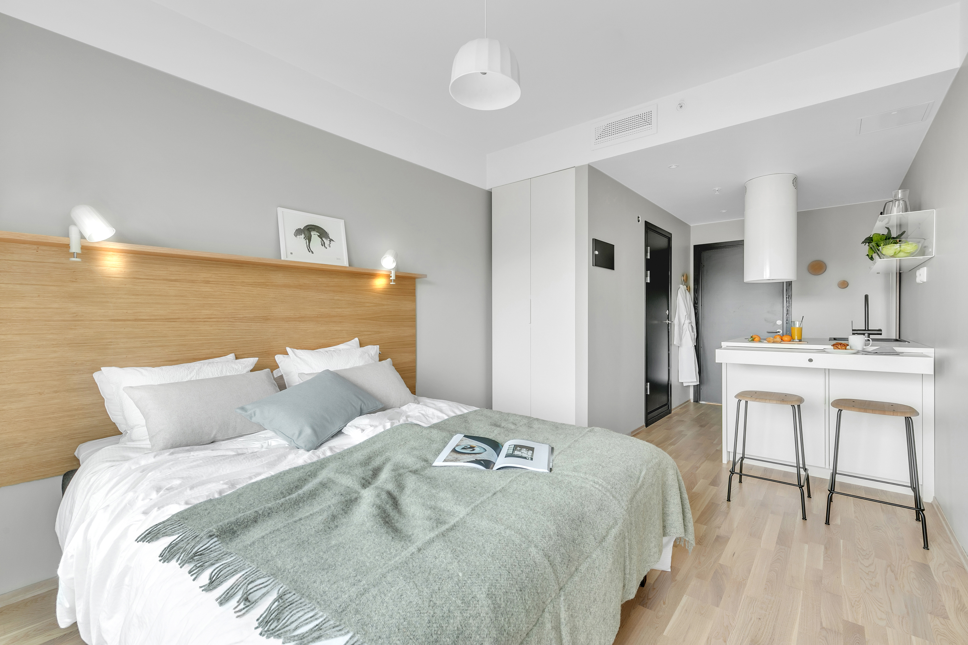En lejlighed i finske Forenoms nye lejlighedshotel i Oslo. PR-foto.