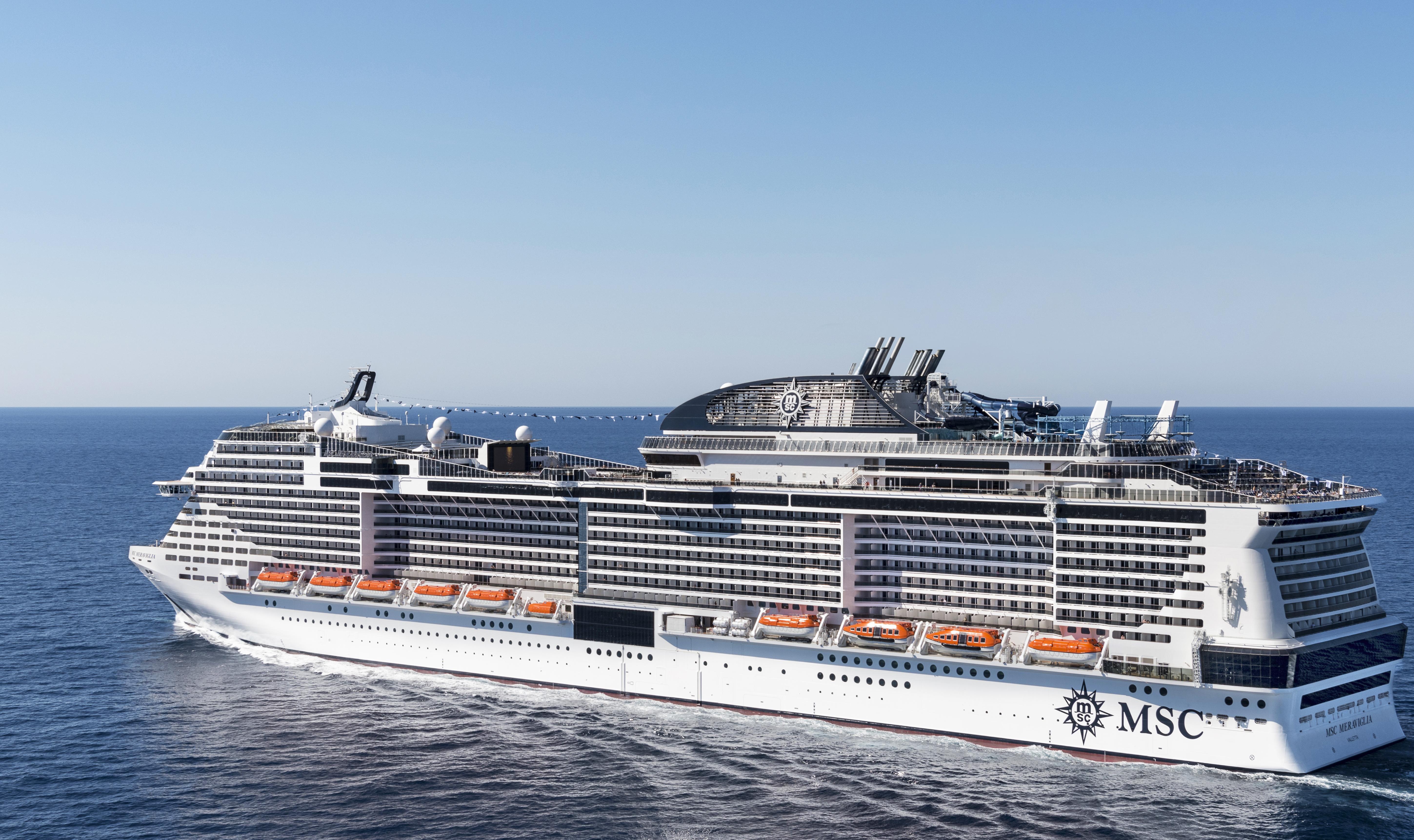 Mens Københavns Havn i år forventer cirka 875.000 krydstogtturister, stiger tallet næste år til – for første gang – over en million. Blandt andet på grund af de meget store skibe som dette, italienske MSC Cruises Meraviglia, der i 2019 bliver største krydstogtskib i havnen. Foto: MSC Cruises.