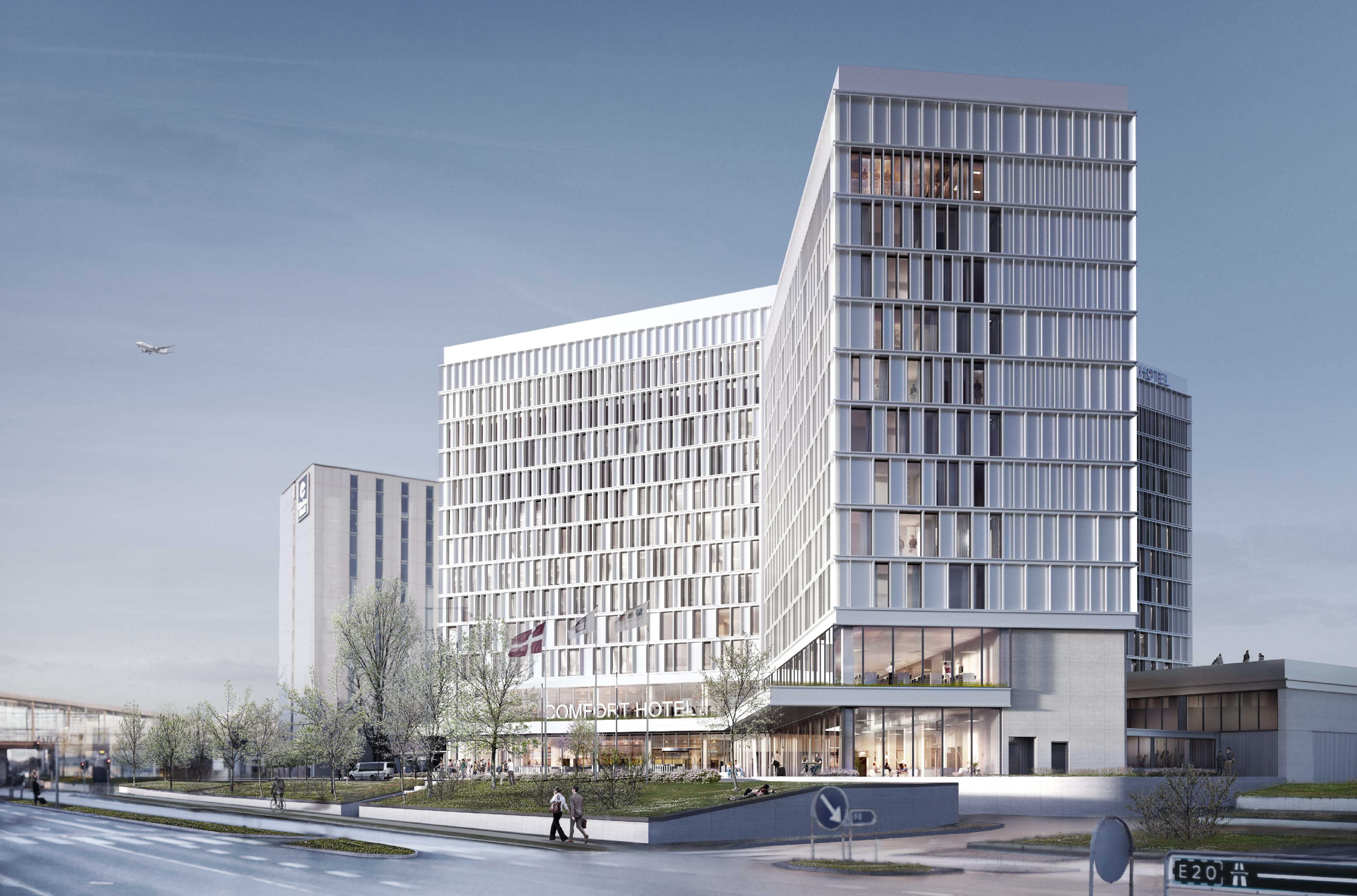 Et af Københavns kommende nye hoteller bliver Comfort Hotel Copenhagen Airport med 619 værelser. Det åbner i 2020 som nabo til det tidligere Hilton Copenhagen Airport, til venstre på illustrationen.