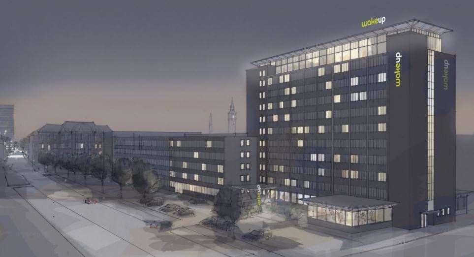 Tegning af det kommende tredje Wakeup-hotel i København. Illustration: Arp-Hansen Hotel Group.