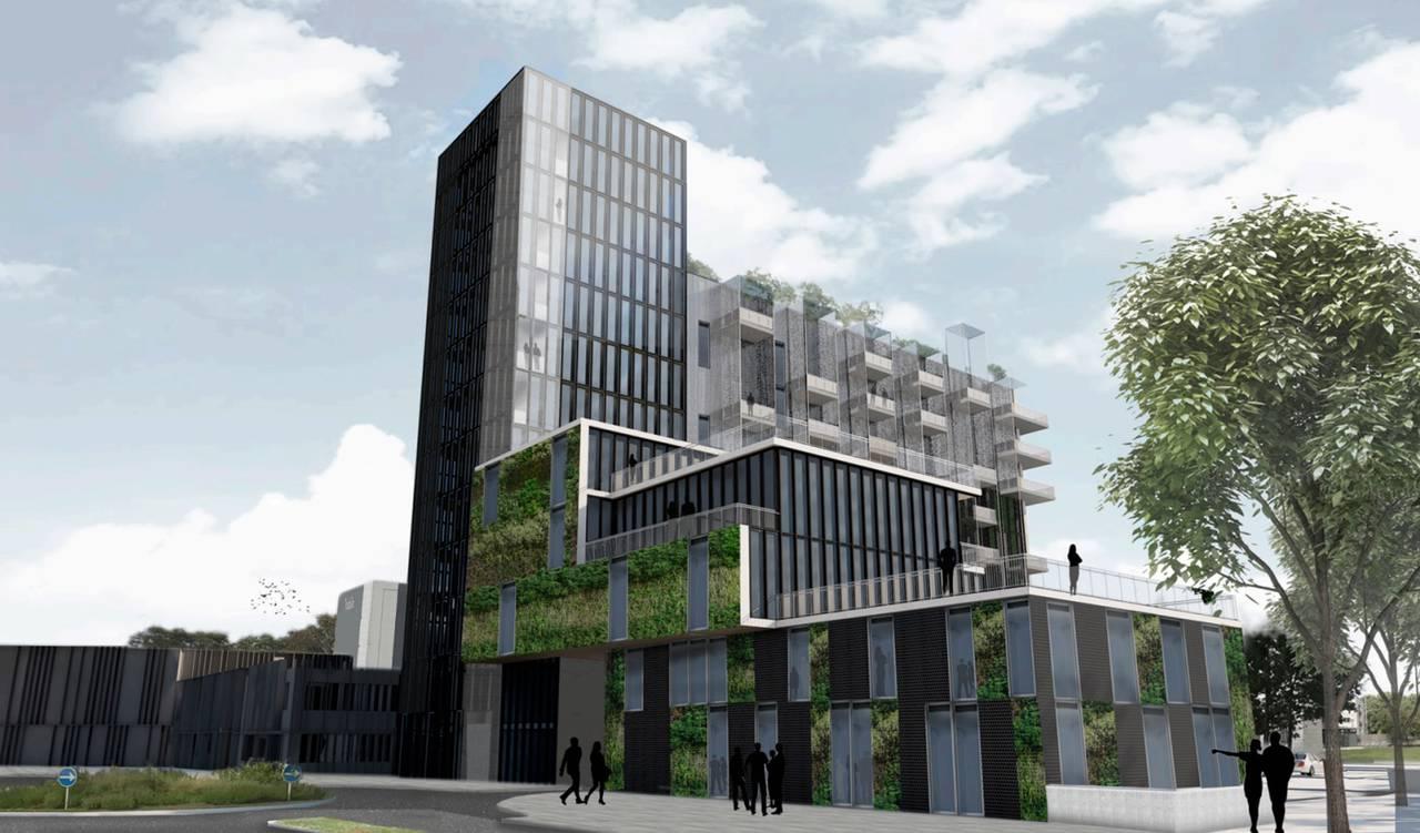 Arkitekttegning af det kommende hotel i Viborg. Illustration: Harritslev Arkitektur i Viborg.