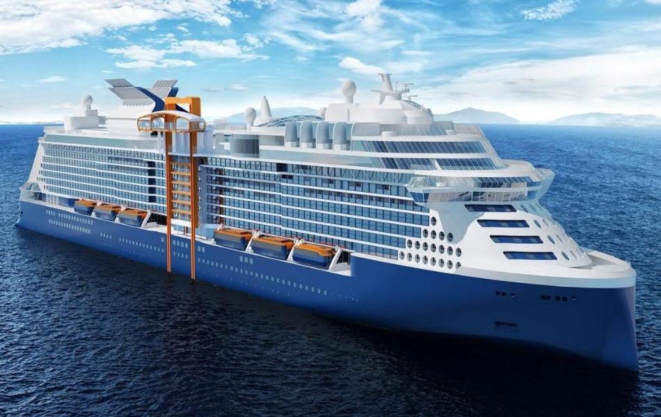 """Celebrity Edge bliver det nye flagskib hos Celebrity Cruises – det har blandt meget andet nyskabelsen """"det magiske tæppe."""" Illustration fra Celebrity Cruises."""