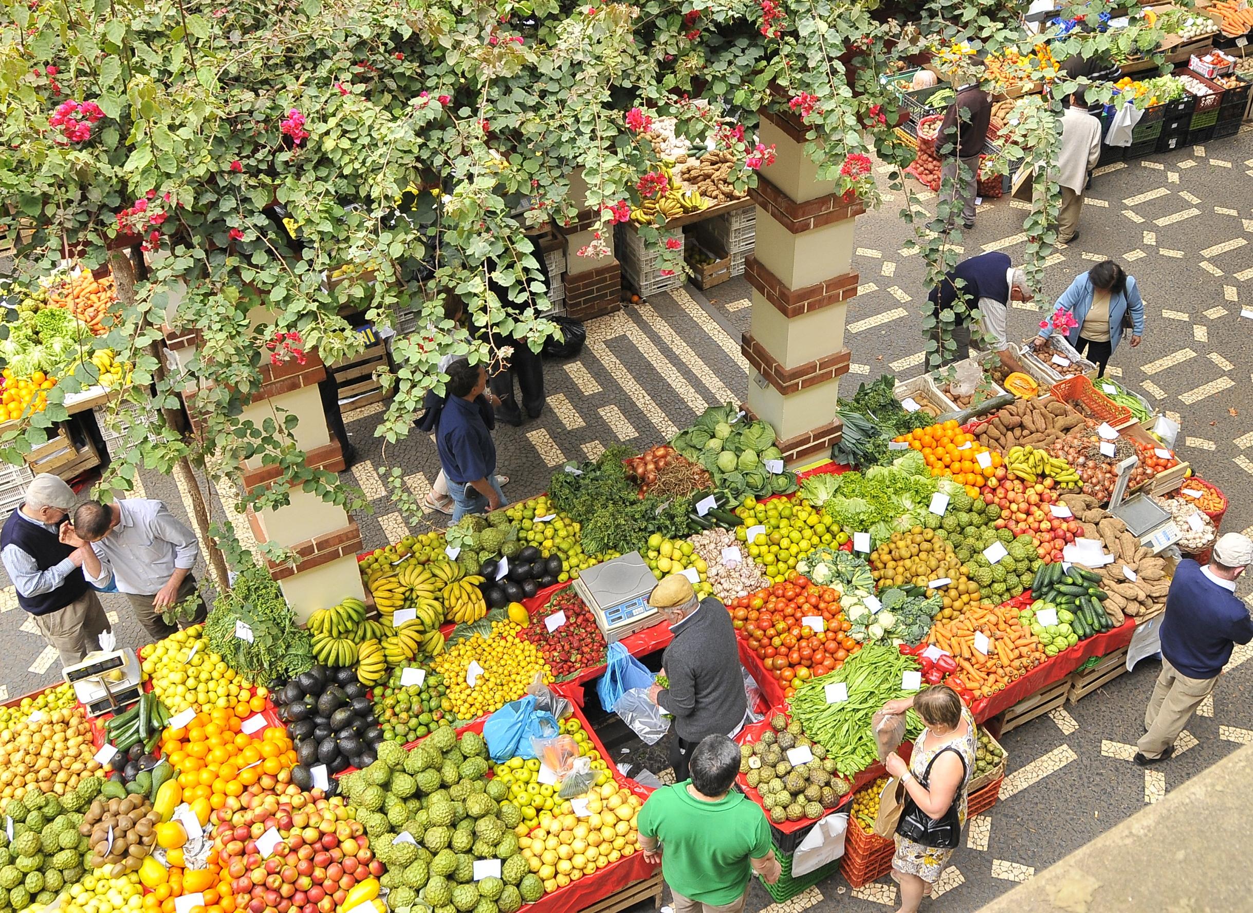 Frugt- og grøntmarked på Madeira. Foto: Turismo de Portugal, Portugals nationale Turistbureau.