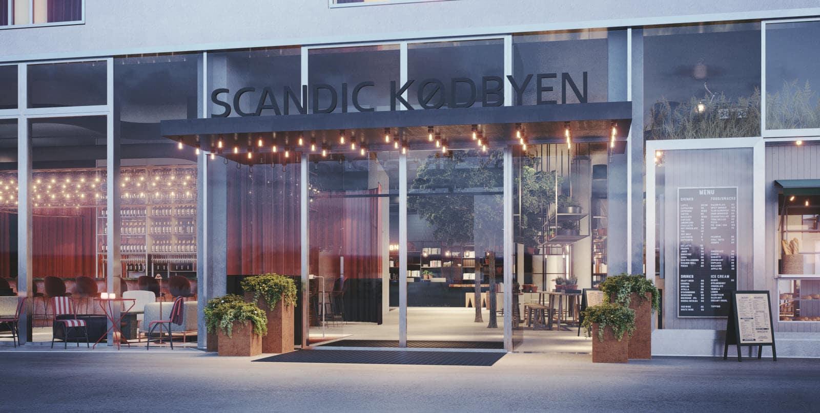 Facaden på det store nye Scandic Kødbyen, der åbner fredag den 7. oktober. Pressefoto: Scandic Hotels.