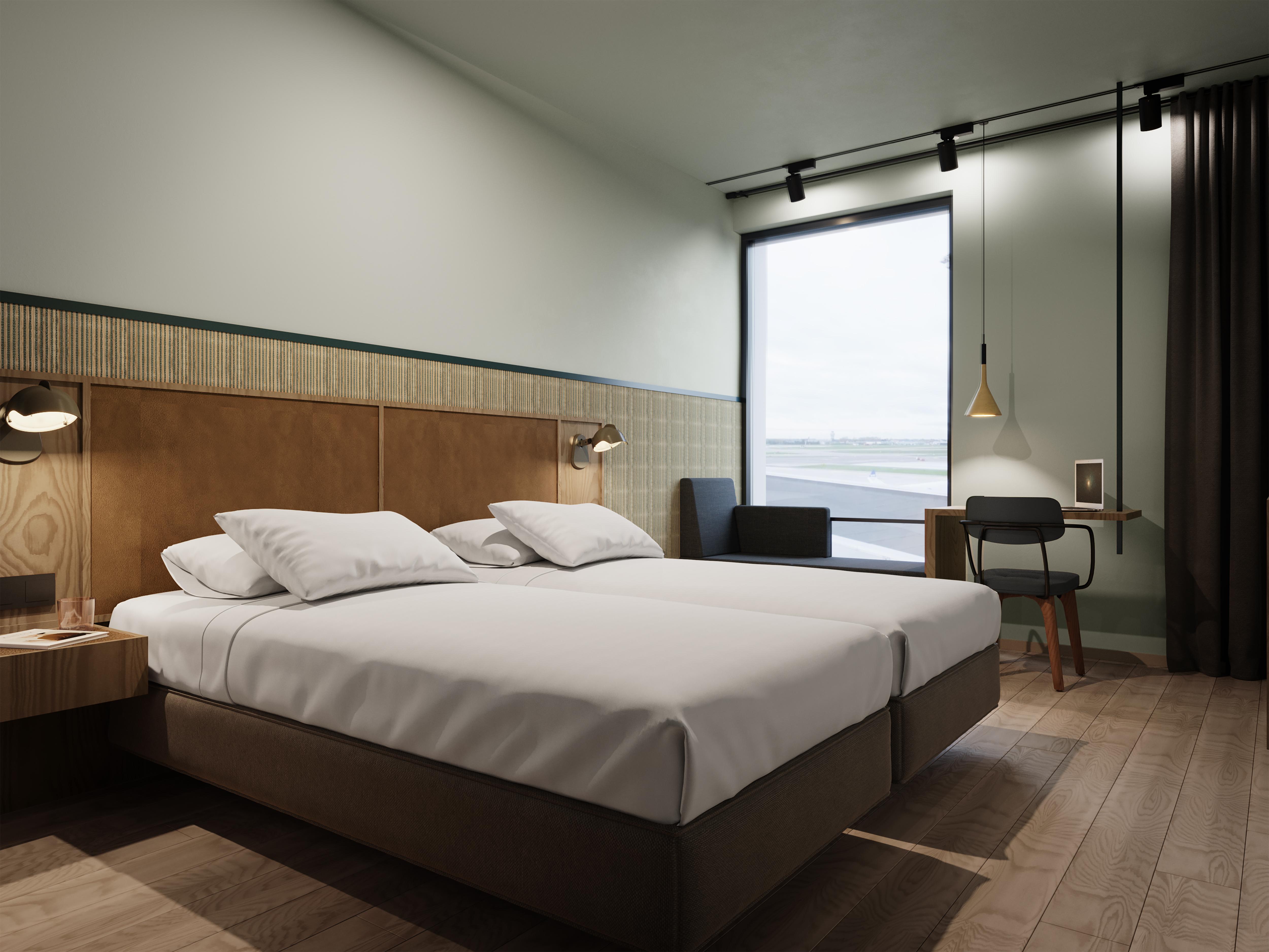 Vejle Rejser forventer at sælge flere hotelværelser via nyt samarbejde med Booking.com – her eksempel på et værelse på Comfort Hotel Copenhagen Airport, der åbner om to år med 604 værelser. Foto: Nordic Choice Hotels.