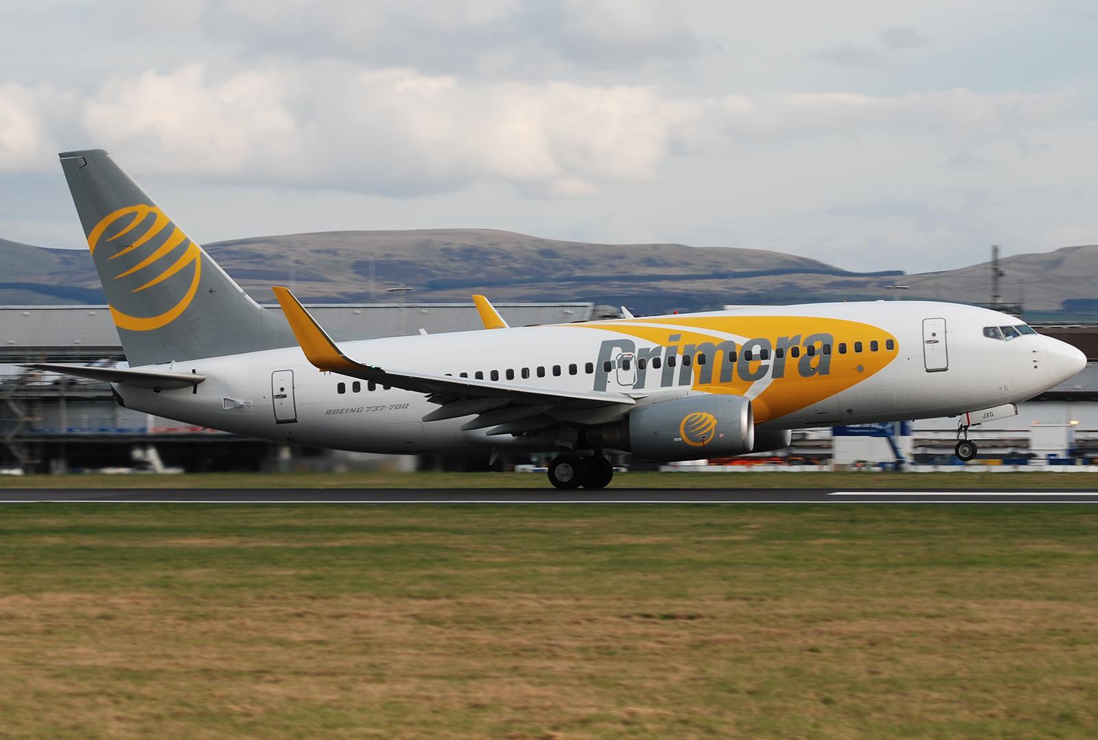 Islandske Primera Air gik konkurs natten til i dag, tirsdag. Flyselskabet havde sidste år over 600.000 passagerer fra danske lufthavne. Arkivfoto.