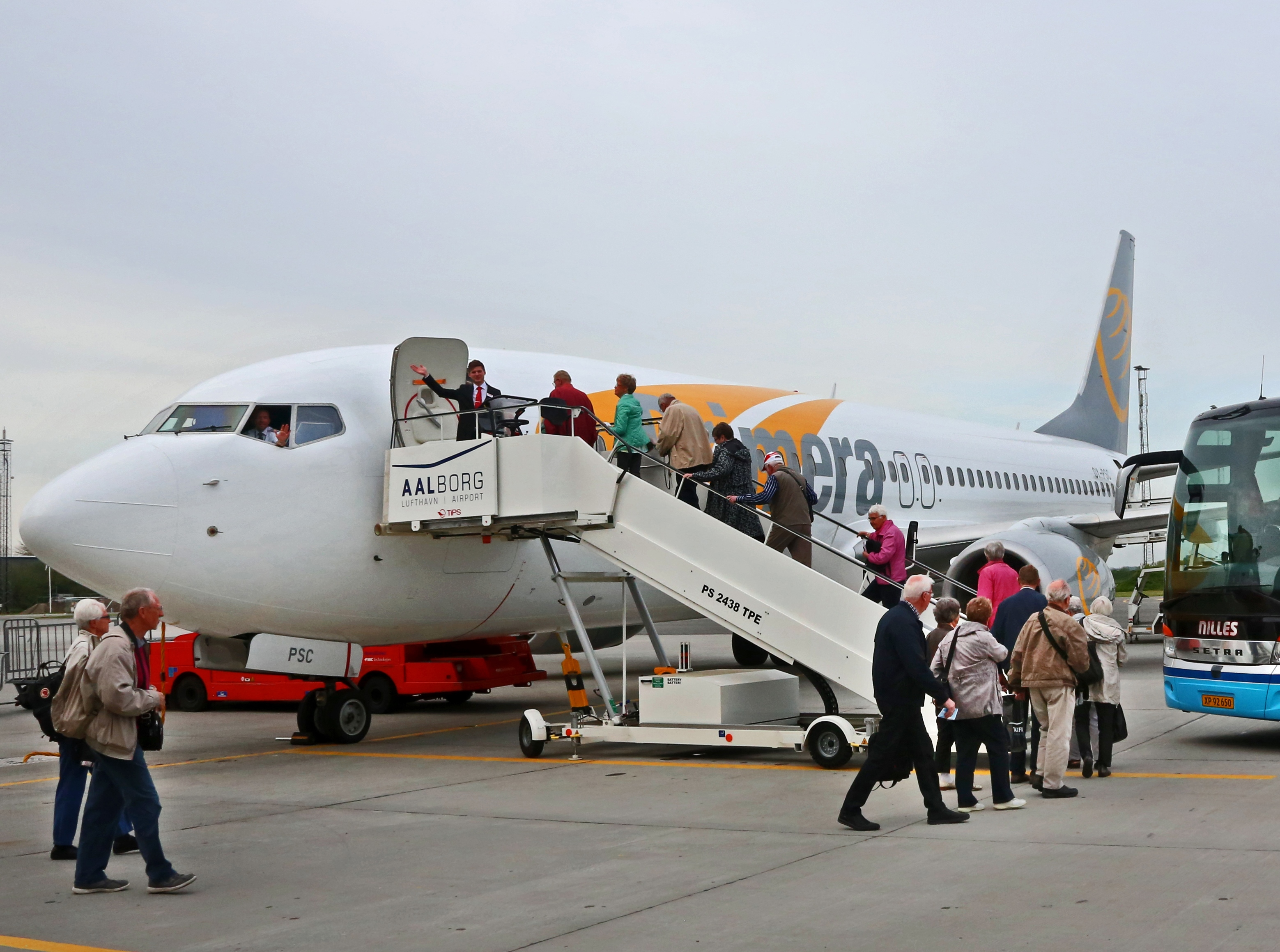 Fly fra Primera Air i Aalborg Lufthavn, pressefoto.