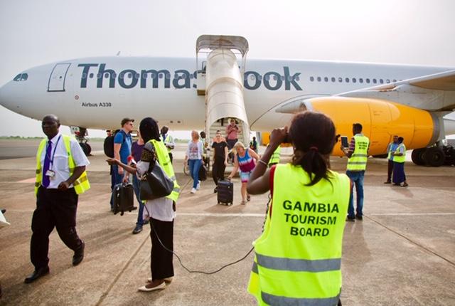 Thomas Cook Airlines' flyet fra København efter tirsdagens landing i Banjul i Gambia, foto: Frank Undall for Spies.