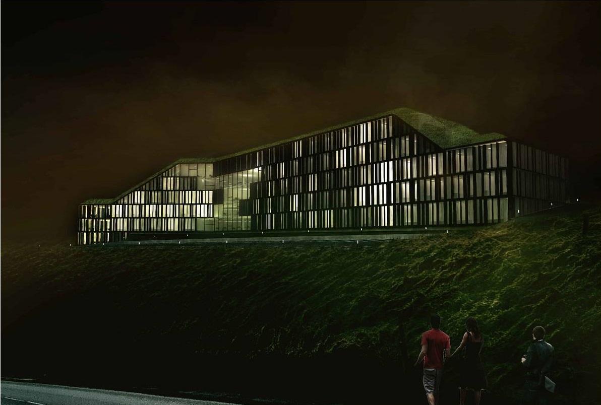 I maj 2020 åbner et af Torshavns to nye hoteller, 4-stjernede Hilton Garden Inn Faroe Islands med 130 værelser. Illustration via VisitFaroeIslands.com