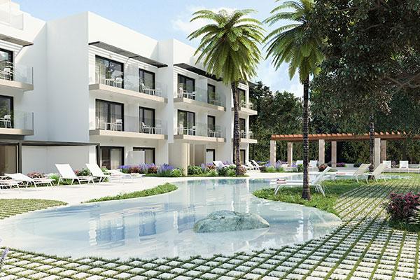 Sådan bliver facaden på det kommende Som Dona Women Only-hotel, der åbner næste forår på Mallorca. Foto: Som Hotels.