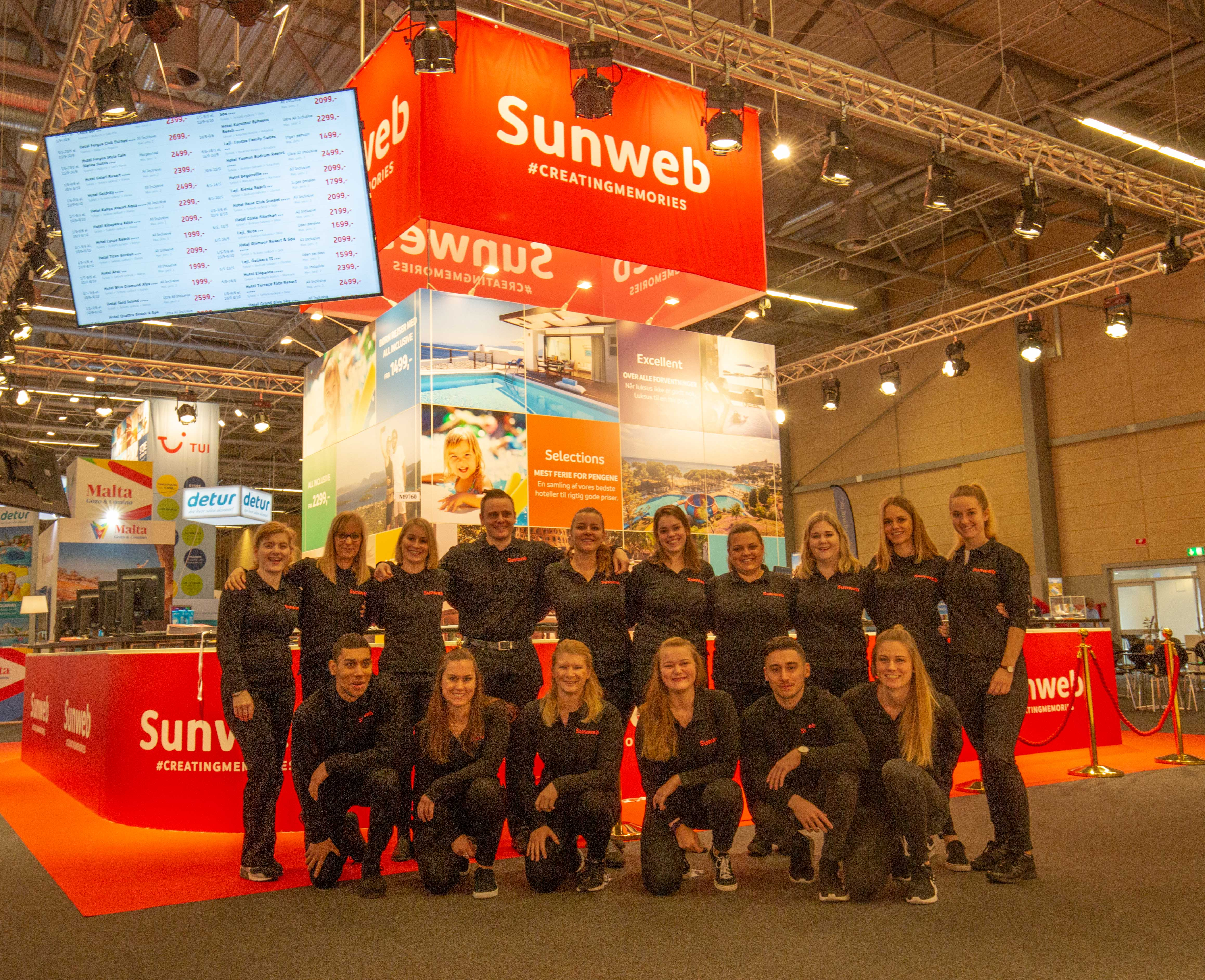 Personale fra Sunweb ved rejsemessen Ferie for Alle i Messecenter Herning. Foto: Sunweb.