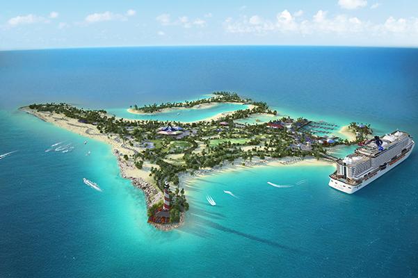 Sådan kommer MSC Cruises' egen private ø ved Bahamas, Ocean Cay MSC Marine Reserve, til at se ud når den er klar om et års tid. Illustration: MSC Cruises.