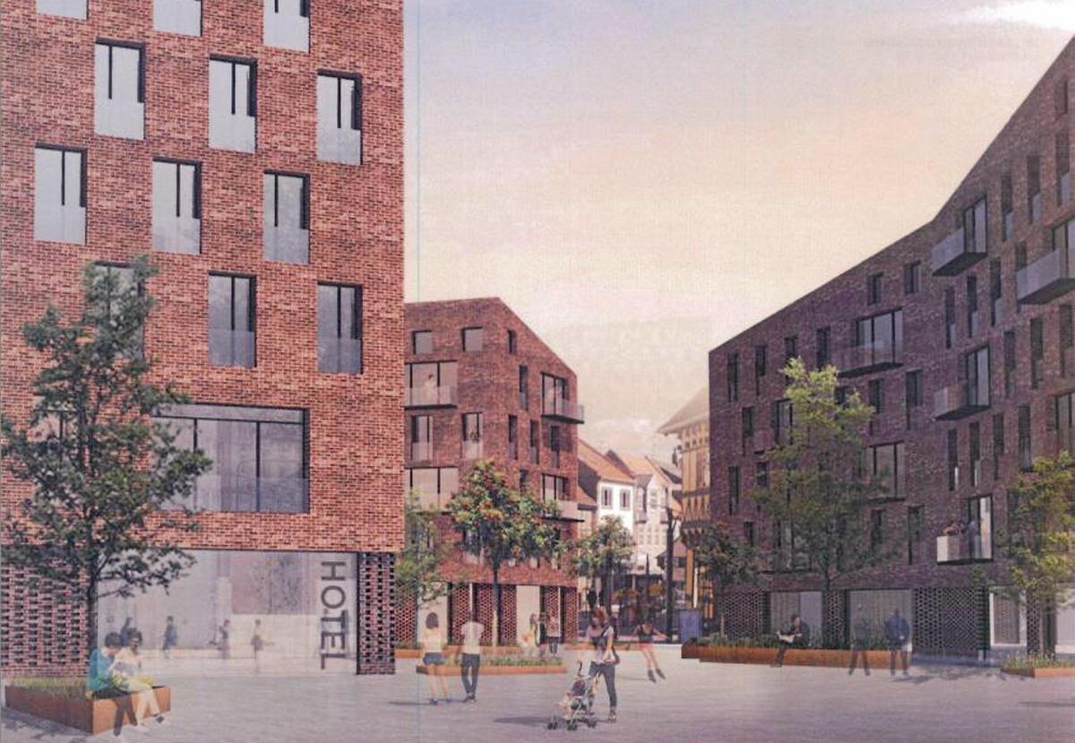 Tegning af det kommende hotel i det centrale Hillerød, der skal drives af Zleep Hotels.