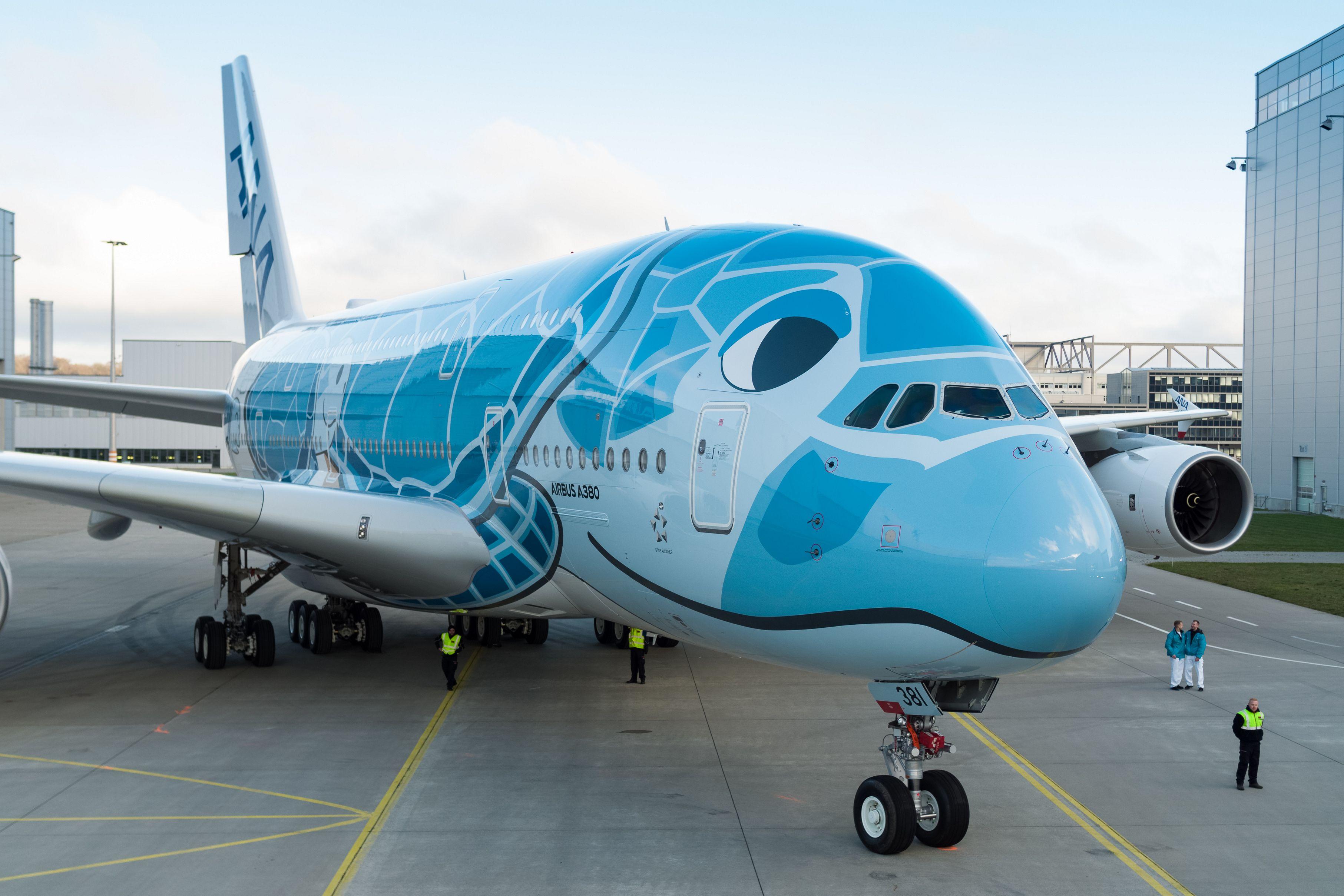 All Nippon Airways bliver først japanske flyselskab med Airbus A380 – dets tre eksemplarer leveres fra næste år, alle bliver malet med inspiration fra skildpadden Hawaiian Green Sea Turtle. Foto: Airbus.