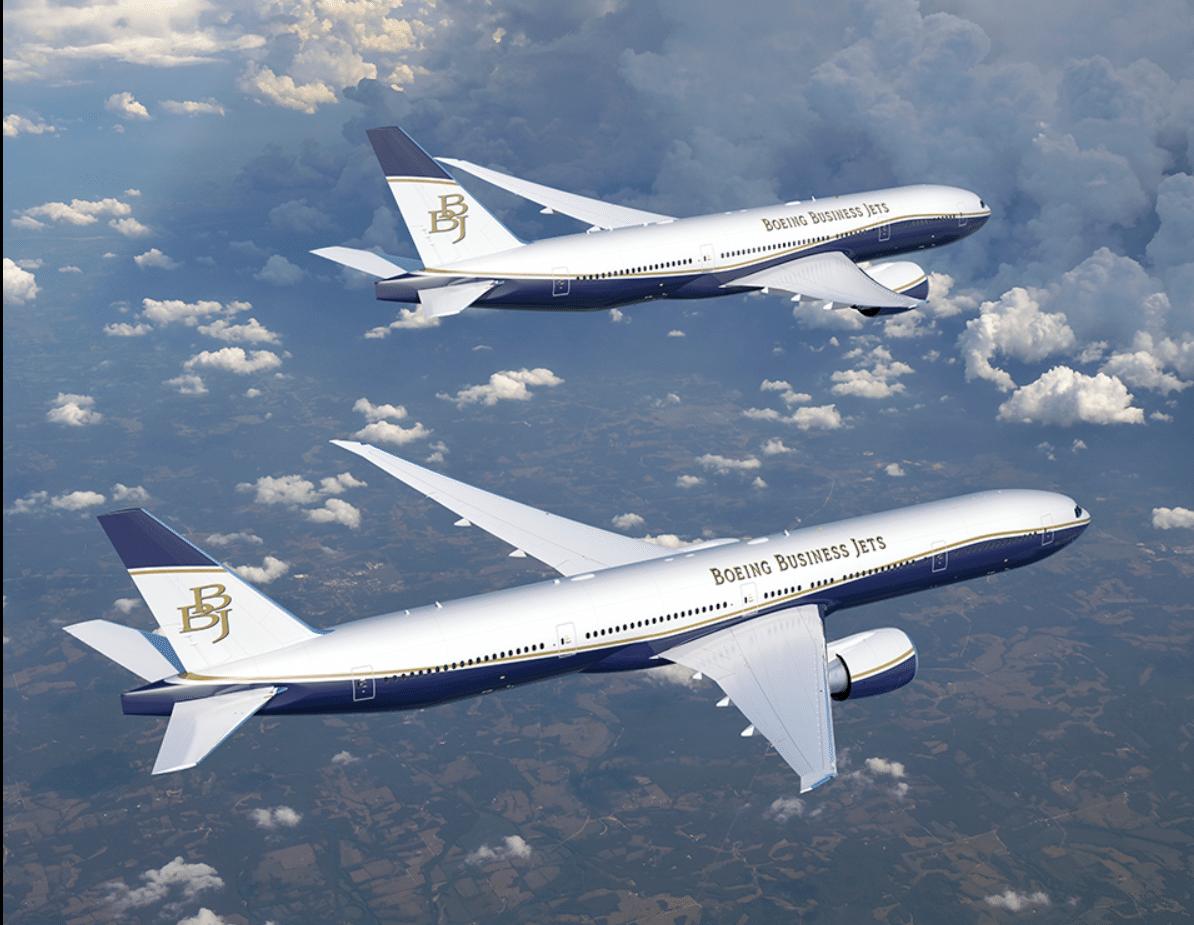 Boeing vil tilbyde Business Jet-versionen af B777X i to versioner – flyene kan næsten flyve halvdelen af jorden rundt, for eksempel non-stop mellem London og Australien. Illustration fra Boeing.
