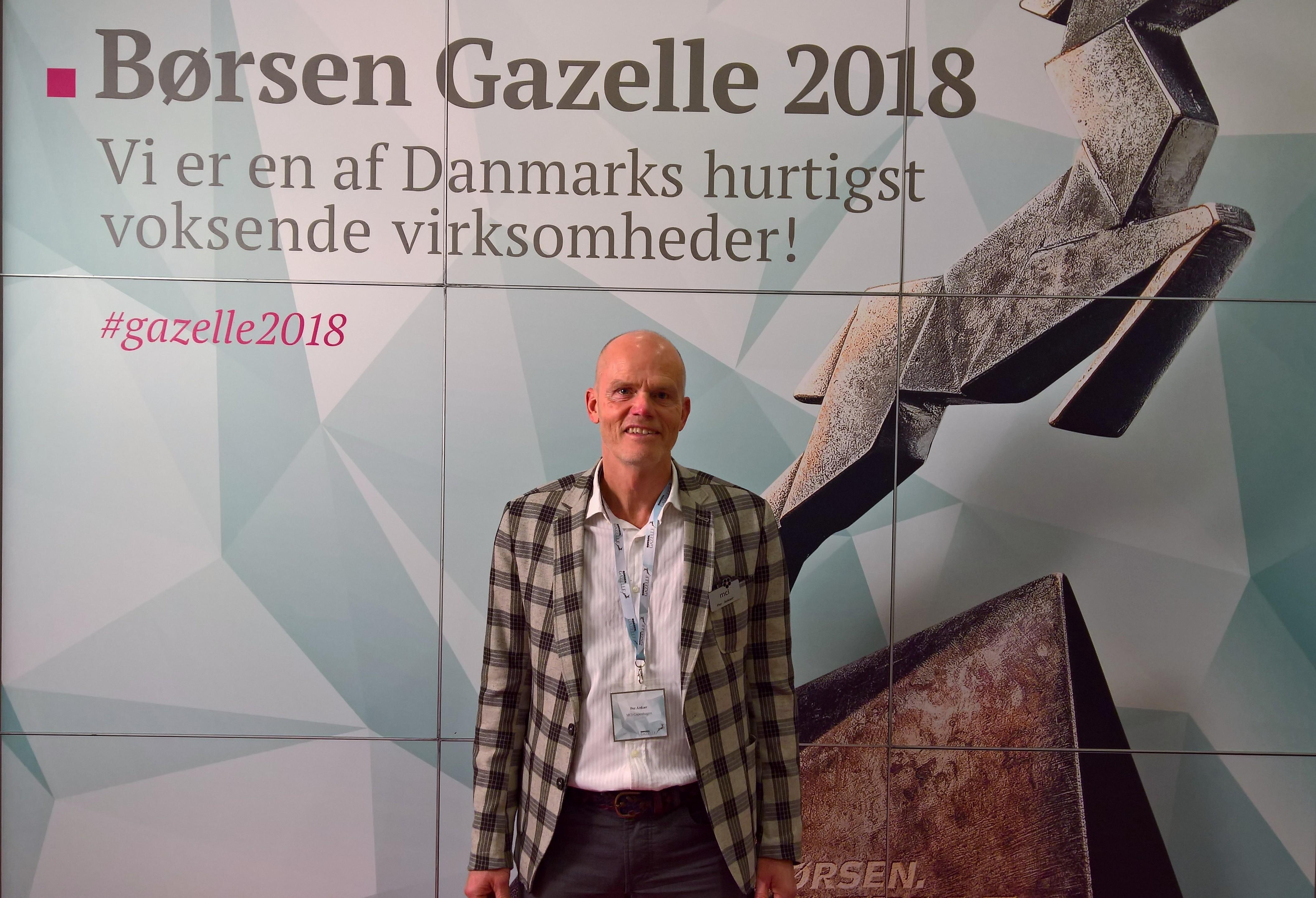 Per Ankær ved Børsens landskåring af årets Gazelle-virksomheder onsdag på Tivoli Hotel & Congress Center. Foto via MCI Denmark.