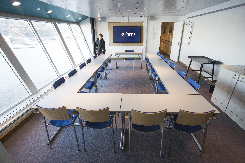 Et mødelokale på Pearl Seaways – der kommer nu yderligere to med lukningen af kasinoet på skibet. Foto: DFDS Seaways.