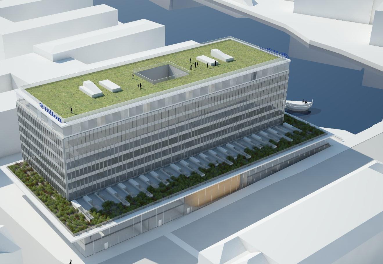 5-stjernede Hilton Copenhagen City åbner nu efter planen i sommeren 2021 ved Knippelsbro i Københavns Havn. Illustration: Hilton.