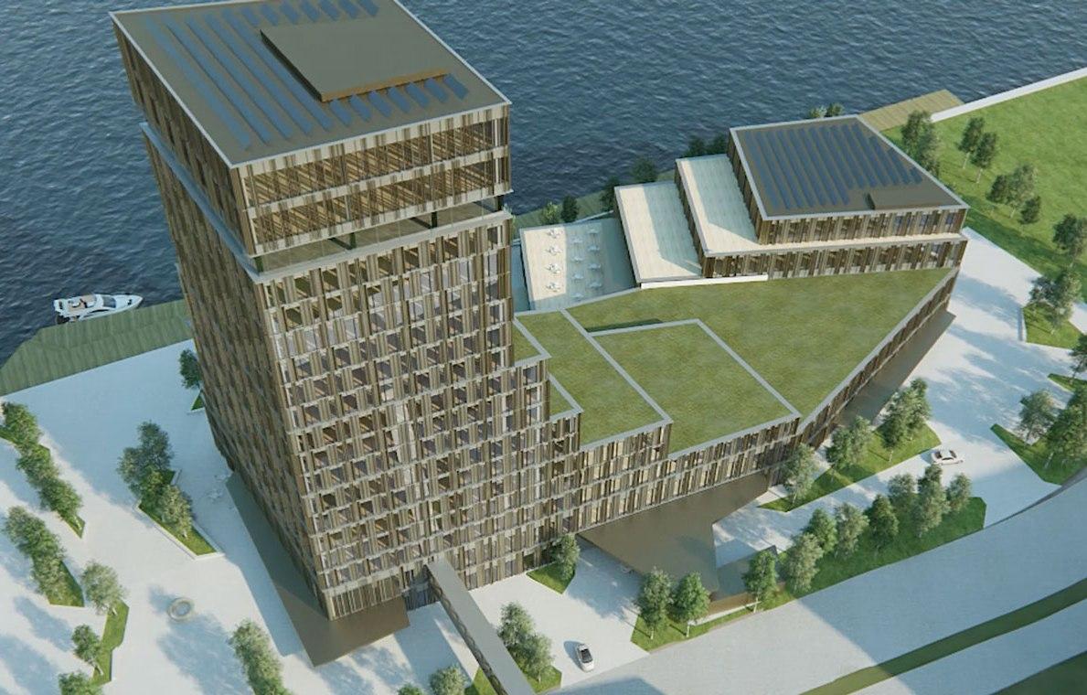 Hotel Alsik opføres i to bygninger, blandt andet et 70 meter højt hoteltårn. Projektet får blandt andet Danmarks største spa- og wellnessområde i fire etager. Illustration: RIMC International Hotels & Resorts.