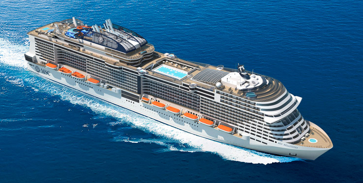 Et af de nye krydstogtskibe er MSC Bellissima, der blev søsat sidste år, fra det italienske rederi MSC Cruises. Det er 316 meter langt, har plads til 5.714 passagerer og en besætning på 1.536. PR-foto.