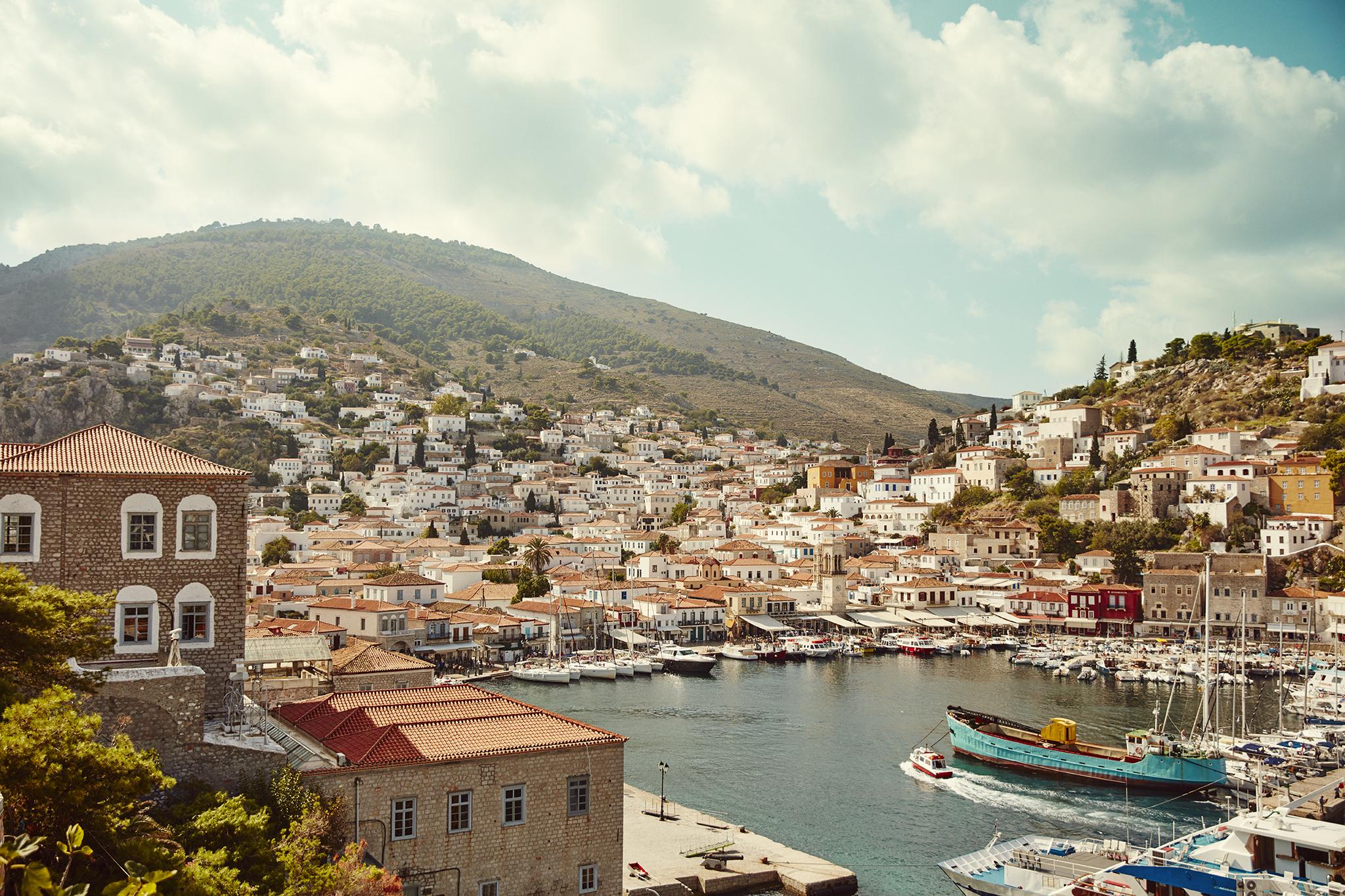 Havnen på den græske ø Hydra, foto: Apollo Rejser.
